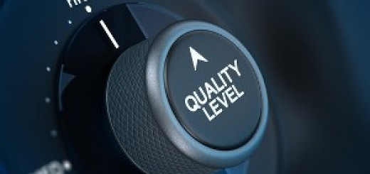 Button where it is written quality level and the word high, concept of quality management.